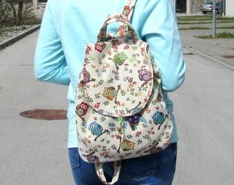 Women's Backpack Festival Backpack Backpack Rucksack Small Women's Backpack Boho Backpack School Backpack New Tapestry Backpack SMALL OWL