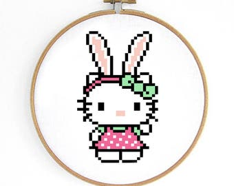 Easter Hello Kitty Cross Stitch Pattern