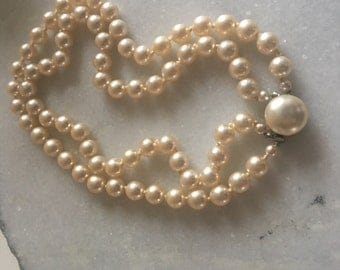 Oversized Double Row Pearl Choker