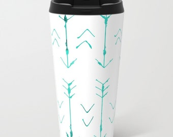 Arrow Travel Mug Metal - Coffee Travel Mug - Teal Arrows -  Hot or Cold Travel Mug - 15oz Travel Mug - Stainless Steel - Made to Order