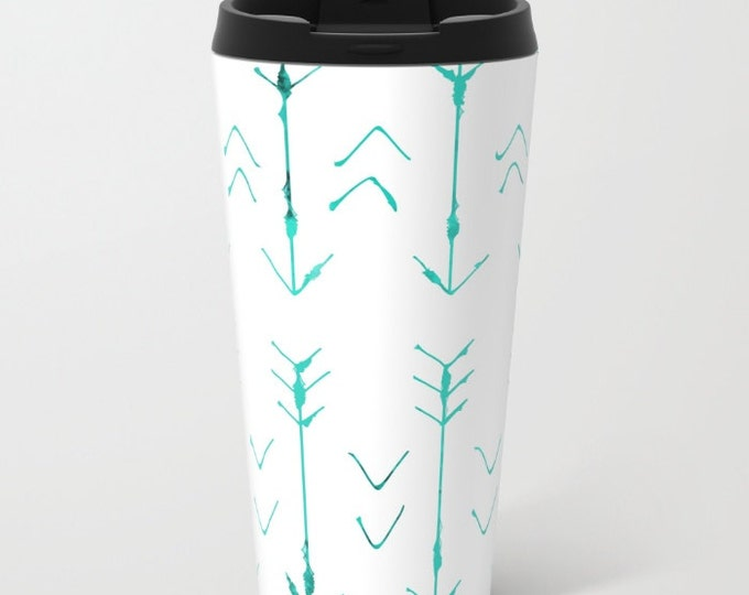 Arrow Travel Mug Metal - Coffee Travel Mug - Teal Arrows -  Hot or Cold Travel Mug - 15oz Travel Mug - Stainless Steel - Made to Order