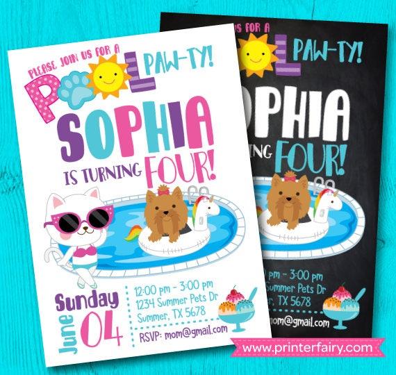 Puppy invitation pool birthday party puppy birthday party summer il570xn filmwisefo