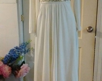 Vintage 60's 70's White Dress Gold Waist Long Sleeve Maxi Dress S/M?