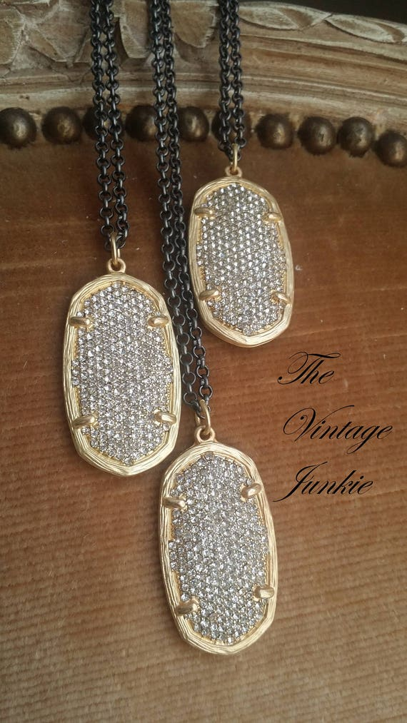 Long, Layering Gunmetal and Gold Pave Dog Tag  Necklace