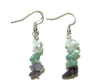 Dangle Crystal Earrings - Aventurine Amethyst Quartz - Clear Green Purple