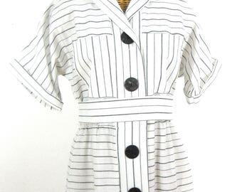 80s Slouch Sleeve, Button-up, Ankle length Dress // Size 12