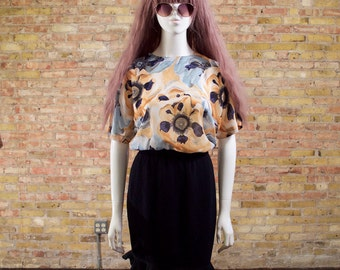 80s boxy blouse / watercolor floral / yellow floral blouse / art blouse / boxy top / sheer top