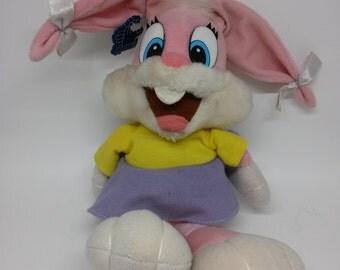 "Tiny Toon Adventures Babs Bunny Plush 12"" Applause Rare 1990 Vintage Stuffed Animal Toy Doll"