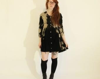 Vintage Distressed Guess Dress Remade Acid Wash Corduroy Dress Tie Dye Dress Hand Dyed Dress Grunge Dress Black Minidress