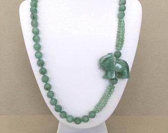 Jade Elephant Necklace Vintage Jade Necklace Hand Knotted Jadeite Long Green Jade Side Pendant Necklace