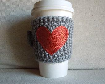 Red Glitter Heart Coffee Cozy, Mug Sweater, Coffee Sleeve, Mug Cozy
