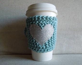 Seafoam Coffee Cozy with Silver Glitter Heart, Mug Sweater, Coffee Cozy, Coffee Sleeve, Mug Cozy