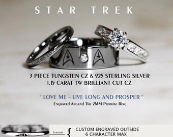star trek tungsten and 925 sterling silver 115 carat cz wedding ring set 8mm star - Star Trek Wedding Ring