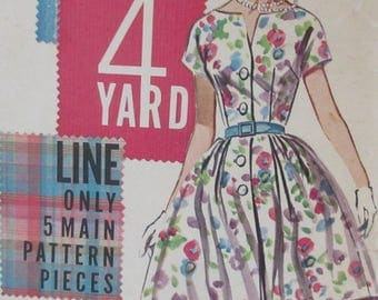 Vintage 1960s  Butterick Button Front Dress Dress Quick N Easy The 4 Yard Sewing Pattern #2240  Size 12