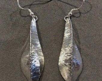 Large Hand Hammered Leaf Pod Earrings in Sterling Silver