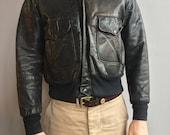 Fieldmaster survêtement veste en cuir noir avec fermeture eclair.