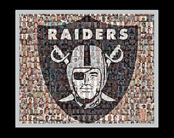 Oakland Raiders Player Mosaic Print Art Design Using 100 of the Greatest Raider Players of All Time.