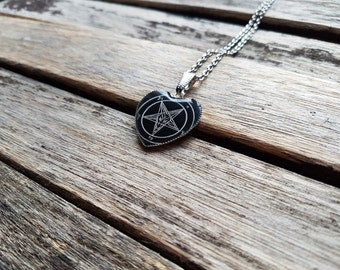 Sigil of Baphomet Heart Cameo - Pentagram Pendant - Pentacle Necklace - Occult Jewelry - Occultism - Esoteric - Goth - Gothic - Horror -Dark