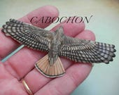 """Cabochon """"Flying RedTail Hawk"""" Porcelain by Laura Mears"""