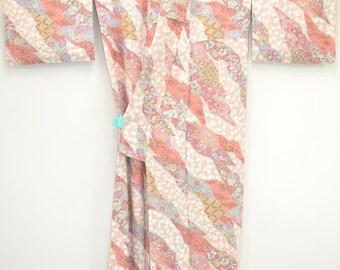 M51 – GEISHA VINTAGE KIMONO - Pink Sakura, Camellia & Wavy Tsunami