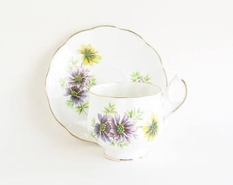 ROYAL DOVER October Cosmos Tea Cup and Saucer