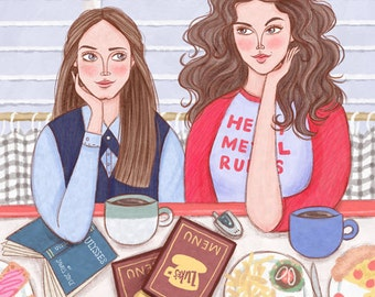 Gilmore Girls Poster Print by Rachel Corcoran - Rory, Lorelai Gilmore - Best Friends, Mother / Daughter / Sister Gift, Digital Illustration