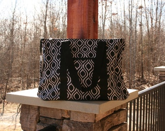 Large Black Ikat Tote