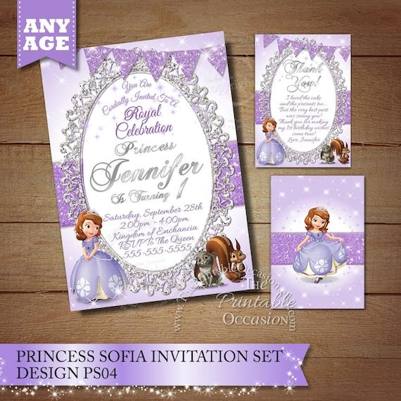 Sofia the First Birthday Invitation Princess Sophia Birhtday