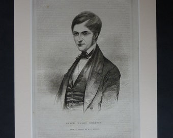 1840s Antique Ralph Waldo Emerson Print, Available Framed, Literary Art, Transcendentalism Decor, Transcendentalist Gift, Liberal History