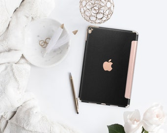 Platinum Edition Black Leather with Rose Gold Smart Cover Hard Case for iPad Air 2, iPad mini 4 , iPad Pro , New iPad 9.7 2017