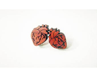 Anatomical heart studs, heart studs, real heart studs, red heart studs, anatomical heart earrings, red heart earrings, mother's day gift