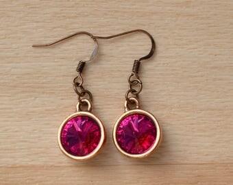Copper Rivoli Earrings - Crystal Jewelry - Dangle Swarovski Crystal Earrings - Wedding Jewellery - Bridesmaid Earrings - Bride Earrings