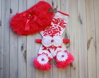 PINK DAMASK-LEG Warmer Set-Boutique Style-Ruffle Bloomers-Ruffled Leg Warmers,Pink and White-Leg Warmers-Shabby Chic-Baby Leg Warmers
