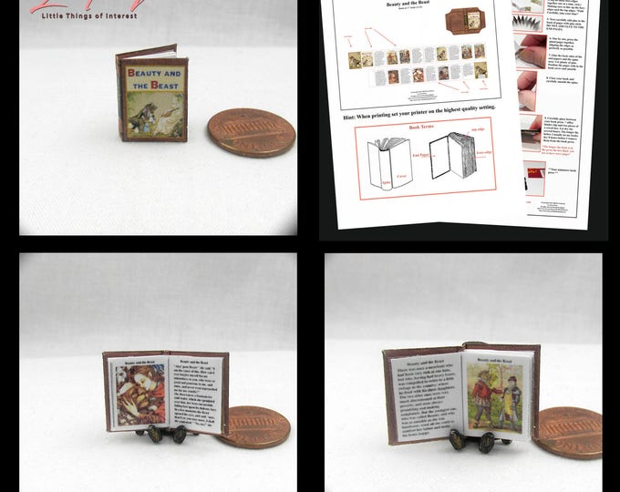 BEAUTY And The BEAST Dollhouse Miniature Book Kit PDF 12th Scale Openable Miniature Book Bell Disney Prince Princess