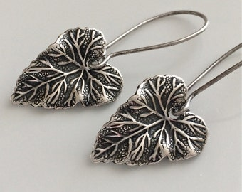 Antiqued Silver Leaf Earrings  Bohemian Earrings  Small Leaf Earrings  Boho Earrings  Gypsy Dangles