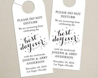 Set of 10 - Best Day Ever Door Hanger for Wedding Hotel Welcome Bag - Personalized Door Hanger - Best Day Ever - Destination Wedding- Custom
