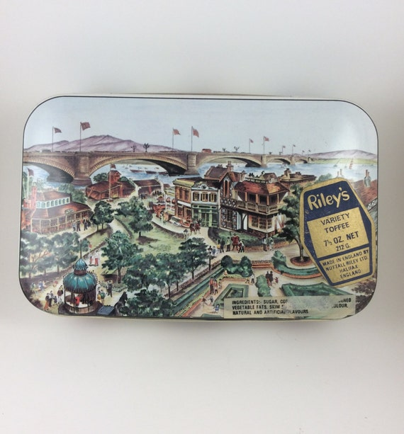 Vintage Rileys toffee tin, vintage hinged tin, Lake Havasu tin, vintage London Bridge tin, London Bridge commerative tin, tin collectibles