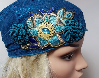 Blue Head Scarf, Blue Tichel With turquoise Flower , Chemo Hat  , Snood , Chemo Scarf , Hair Covering , Head Cover , Blue Headwear , Sinar