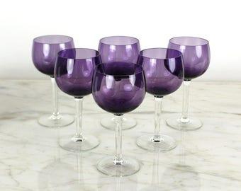 Amethyst Wine Goblets, Set of Six, Vintage Wine Glasses, Purple, Ballon Wing Glasses, Optic Glass, Wedding Stemware