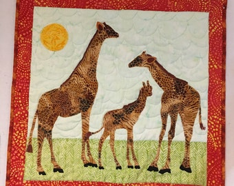 Our Favorite Giraffes~~April, Oliver & baby Tajiri Quilted Wall-Hanging