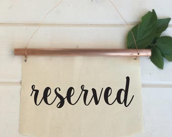 Copper Wedding Reserved Signs Chair back signs Copper wedding decor Black and White Gold White Rose Gold Navy Blue and White