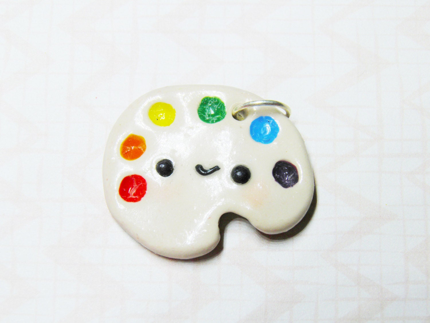 kawaii paint palette necklace rainbow polymer clay