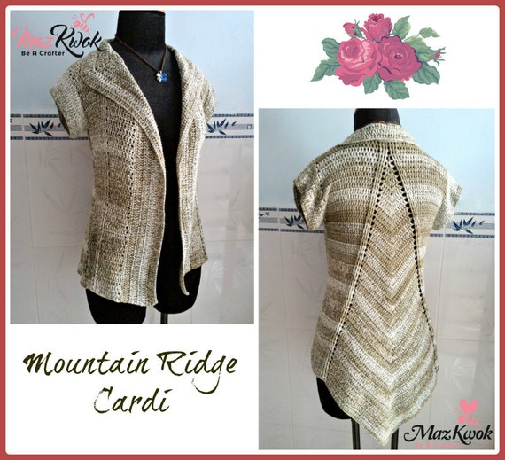 Mountain Ridge cardi pdf crochet pattern ( size S - 3XL )