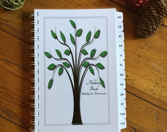 Large Print Address Book with A-Z TABS Birthday Anniversary Calendar Family Record Keeper Personalized Gift