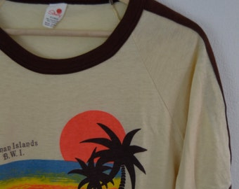 Vintage 1980s Cayman Islands Ringer T Shirt Size Medium