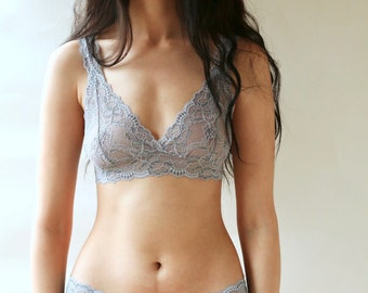 Lingerie Set in Sheer Lace bralette and french knicker in Slate Grey and Blue Lace. Handmade underwear from Brighton Lace