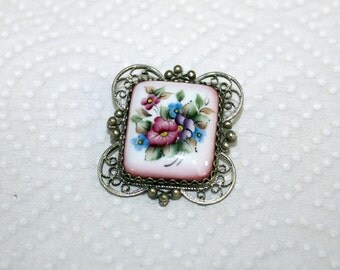 Vtg Russian Finift Brooch Pink Floral Silver Filigree Russian Porcelain Hand Painted
