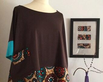 Camiseta chocolate y turquesa
