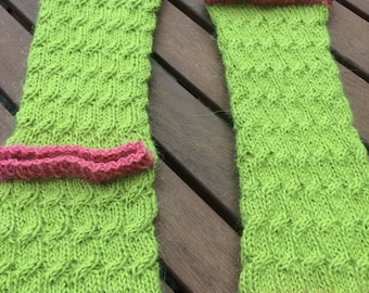 coral and acid lime cable leg warmers