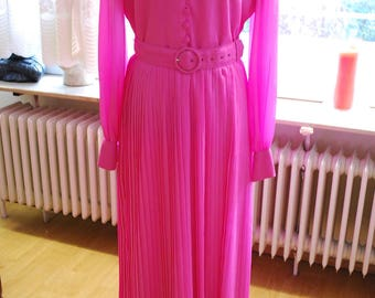 Vintage 60's/70's Hot Pink Maxi/Hostess Dress by Trina Lewis